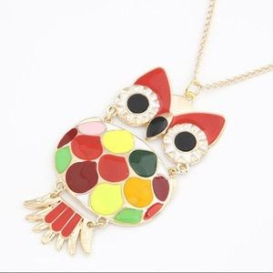Red, yellow, owl pendant necklace NWT